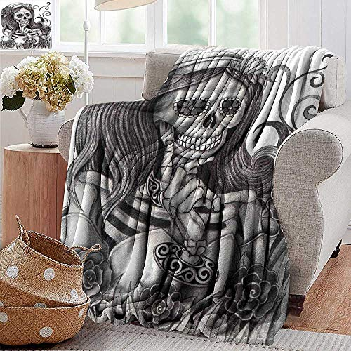 PearlRolan Flannel Throw Blanket,Skull,Sexy Skull Girl with Floral Veil Ceremony Day of The Dead Bride Skeleton Lady Art,Grey White,Super Soft and Warm,Durable Throw Blanket -