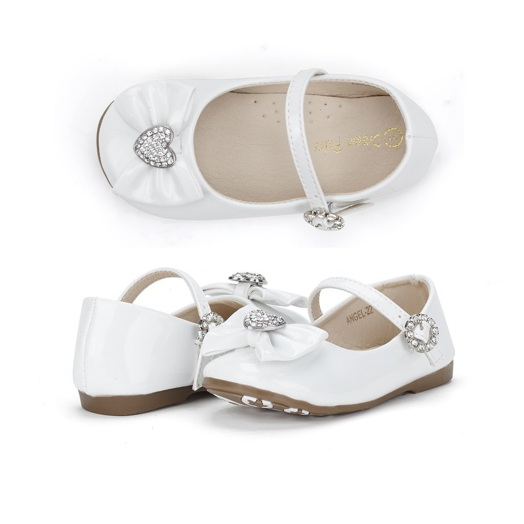 Dream Pairs ANGEL-22 Mary Jane Front Bow Heart Rhinestone Buckle Ballerina Flat (Toddler/ Little Girl) New, white pat, 7 M US Toddler