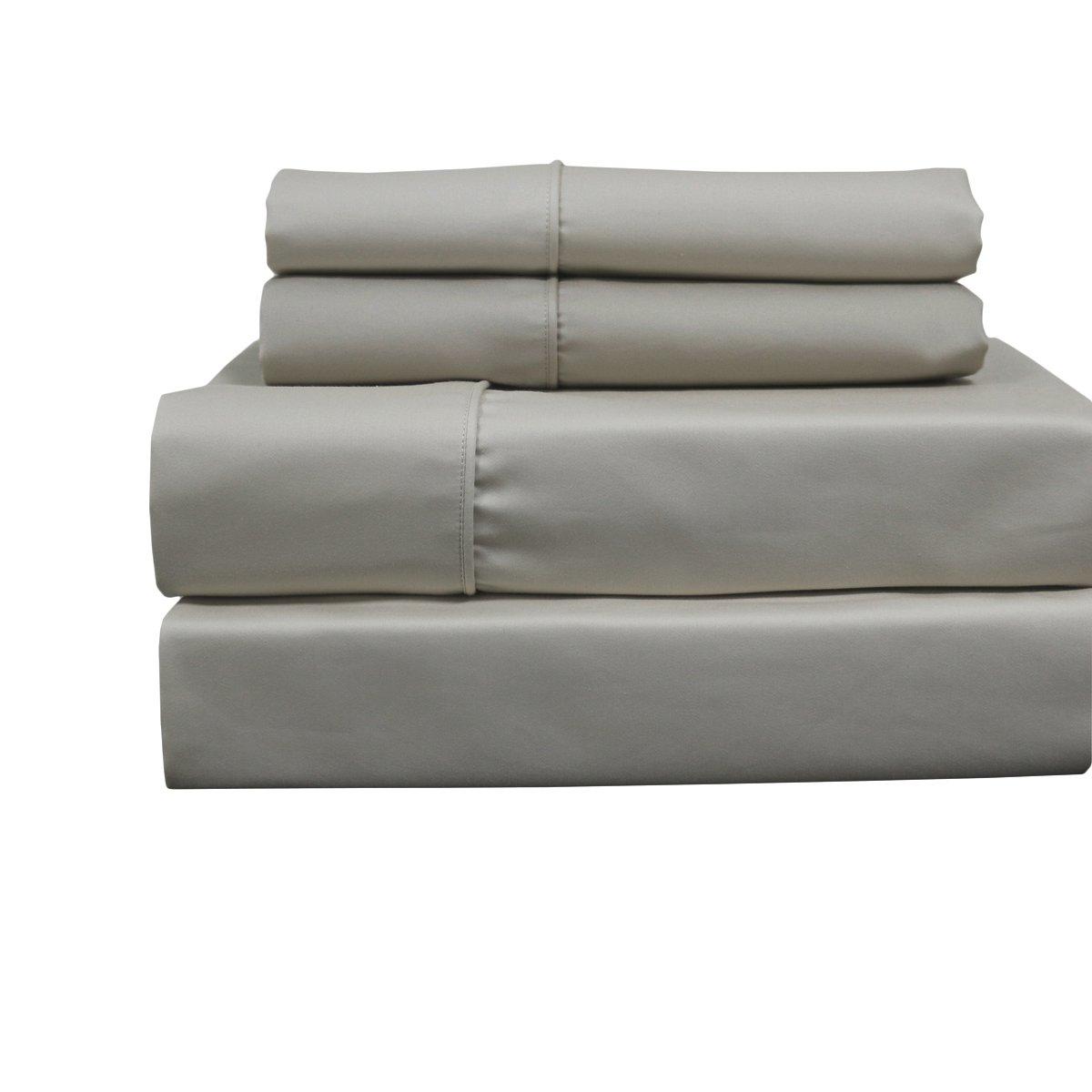 Solid Linen Top Split King: Adjustable King Bed Size Sheets, 4PC Bed Sheet Set, Cotton blend 650 Thread Count, Sateen Solid, Deep Pocket