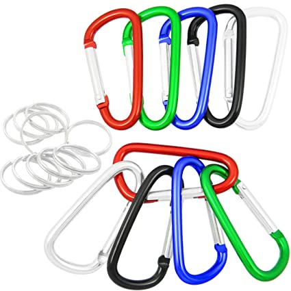 Accessory & Keychain Carabiners QY 10PCS 1.91 Inch Long Colored Spring Snap Hook Rings Aluminum Alloy Keychain Clip Buckle With Keyring D Shape Qualtiy Yes
