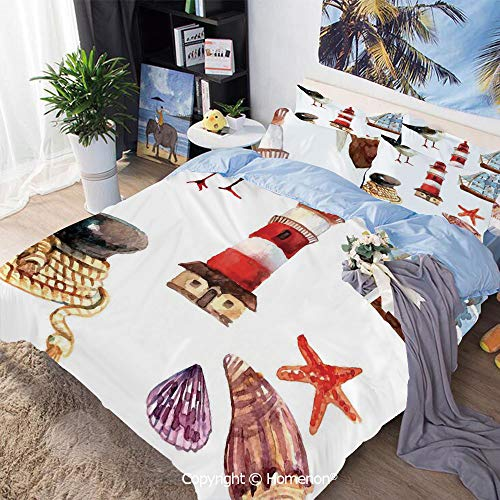 Bedding Sheets Set 3-Piece Bed Set,Nautical Theme Elements Seagull Boat Lighthouse Shell Starfish Island Watercolor Style,Twin Size,Hypoallergenic,Cool Breathable,Multi