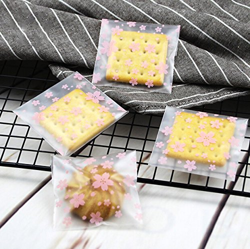 100 Pcs Bakery Bag OPP Self Adhesive Cookie Candy Biscuit Roasting Treat Gift DIY Plastic Bag (Flower)