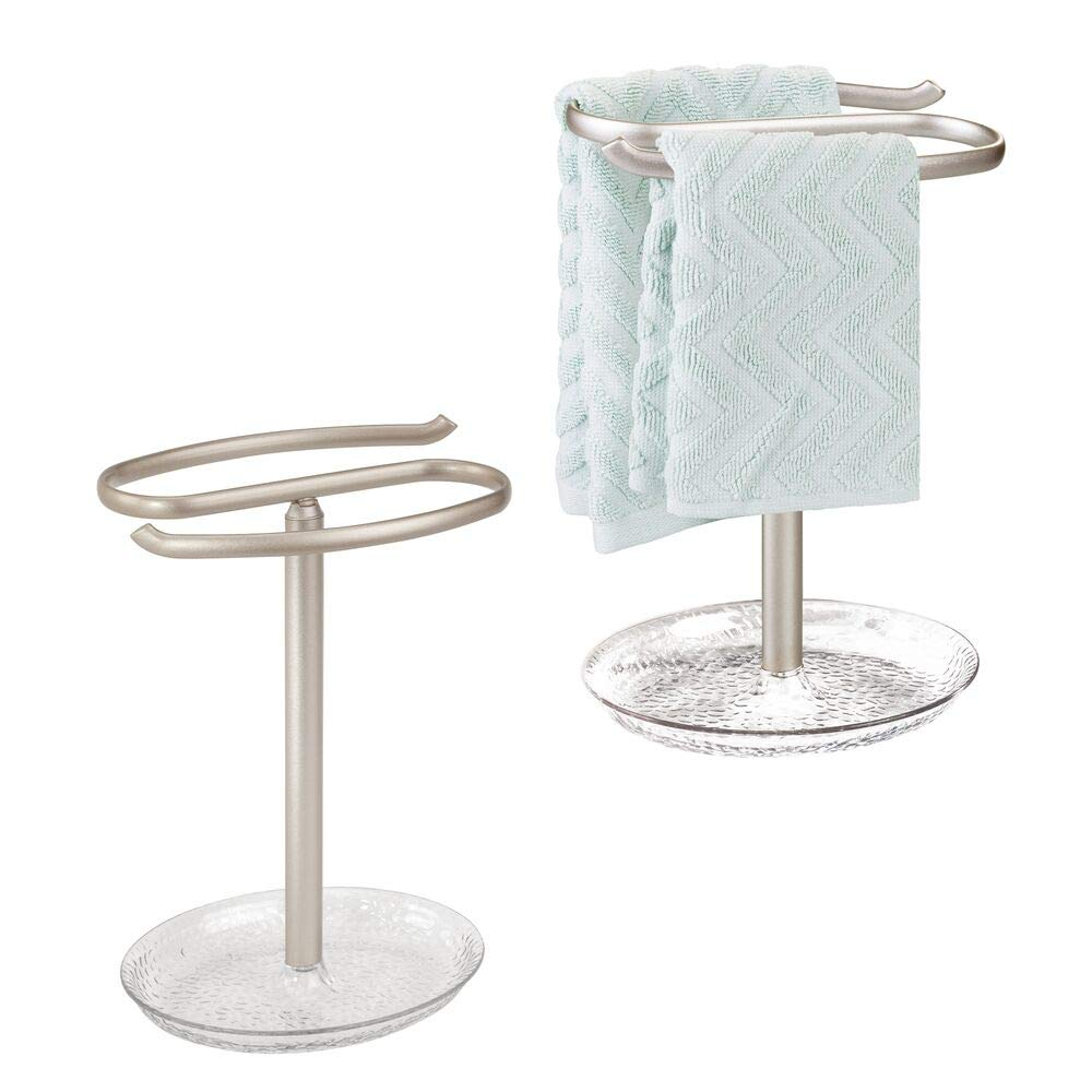 mDesign Decorative Metal Fingertip Towel Holder Stand with Base Tray for Bathroom Vanity Countertops to Display and Store Small Guest Towels or Washcloths - 2-Sided, 10.5'' High, 2 Pack - Clear/Satin