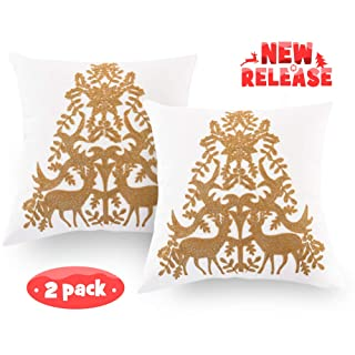 PLWORLD Embroidery Throw Pillow Covers Set of 2, Christmas Tree Decorative Cotton Cushion Cases for Couch Bedroom, 18×18 inches