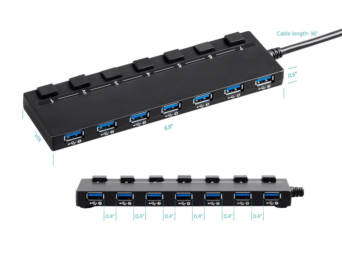 Monoprice USB 3.0 Switch Hub with AC Adapter Plug and Play Easy to Install 7-Port