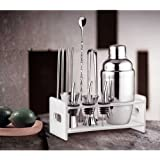 9 Piece Stainless Steel Cocktail Shaker Set Home Cocktail Making Kit with 550ml Cocktail Shaker,Mixer,Tongs,Strainer,Straw, Wine Mouth