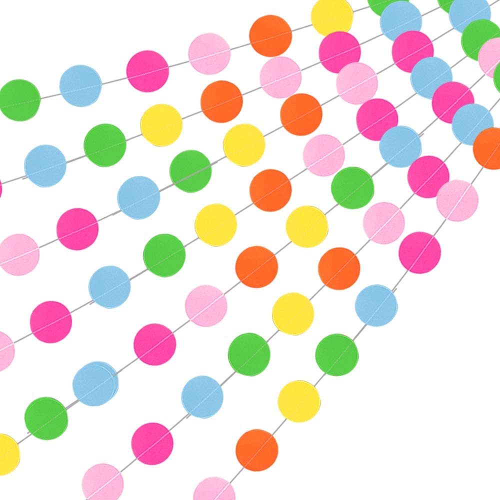 Round Paper Garland Assorted Colors Circle Dots Hanging Banner Party Decor N7