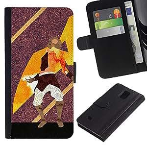 // PHONE CASE GIFT // Moda Estuche Funda de Cuero Billetera Tarjeta de crédito dinero bolsa Cubierta de proteccion Caso Samsung Galaxy Note 4 IV / Abstract Warrior Art /