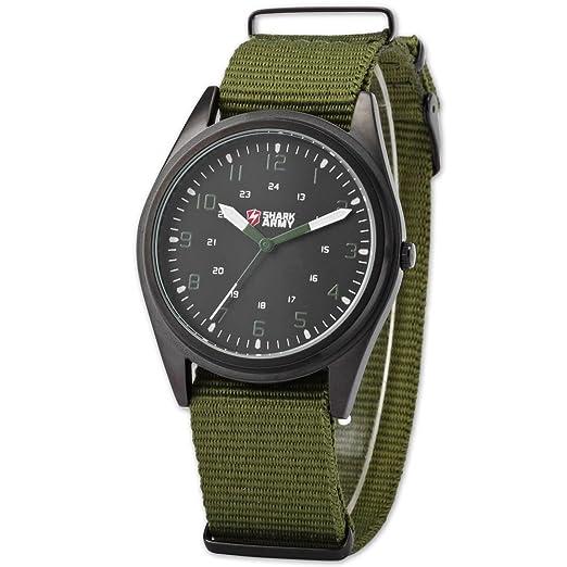 SHARK ARMY SAW039 - Reloj Hombre de Cuarzo, Correa de Nylš®n Verde: Amazon.es: Relojes