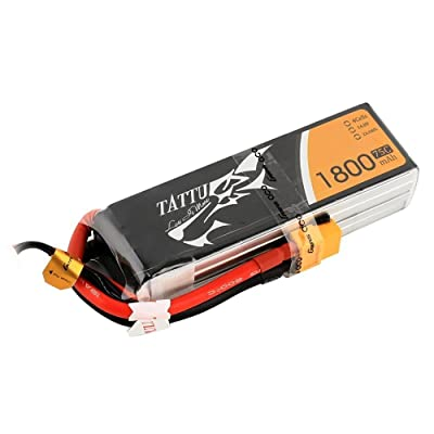 Tattu 14.8V 1800mAh 4S 75C LiPo Battery Pack with XT60 Plug for FPV Racing LRC Freestyle CX Pro Quadcopter Vortex: Toys & Games