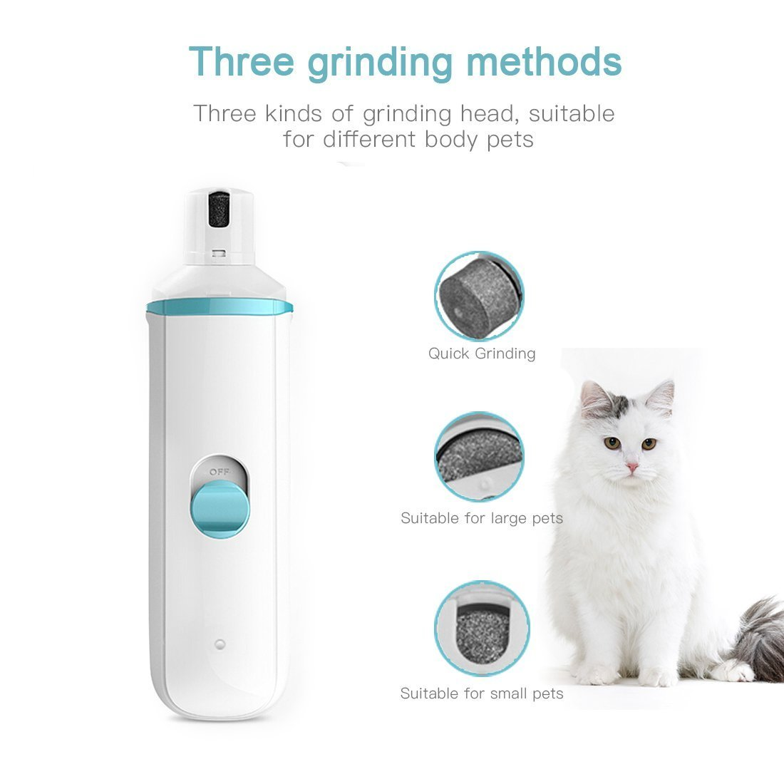 DIGDAN Dog Nail Grinder, Electric Pet Nail Grinder with USB Fast Charging for Gentle Painless Paws Grooming, Portable Low Noise Nail Clippers for Dogs, Cats and Other Animal Paws by DIGDAN (Image #3)
