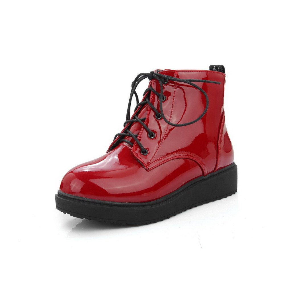 WeiPoot Women's Round Closed Toe Low Top Low Heels Solid Patent Leather Boots, Claret, 39 by WeiPoot