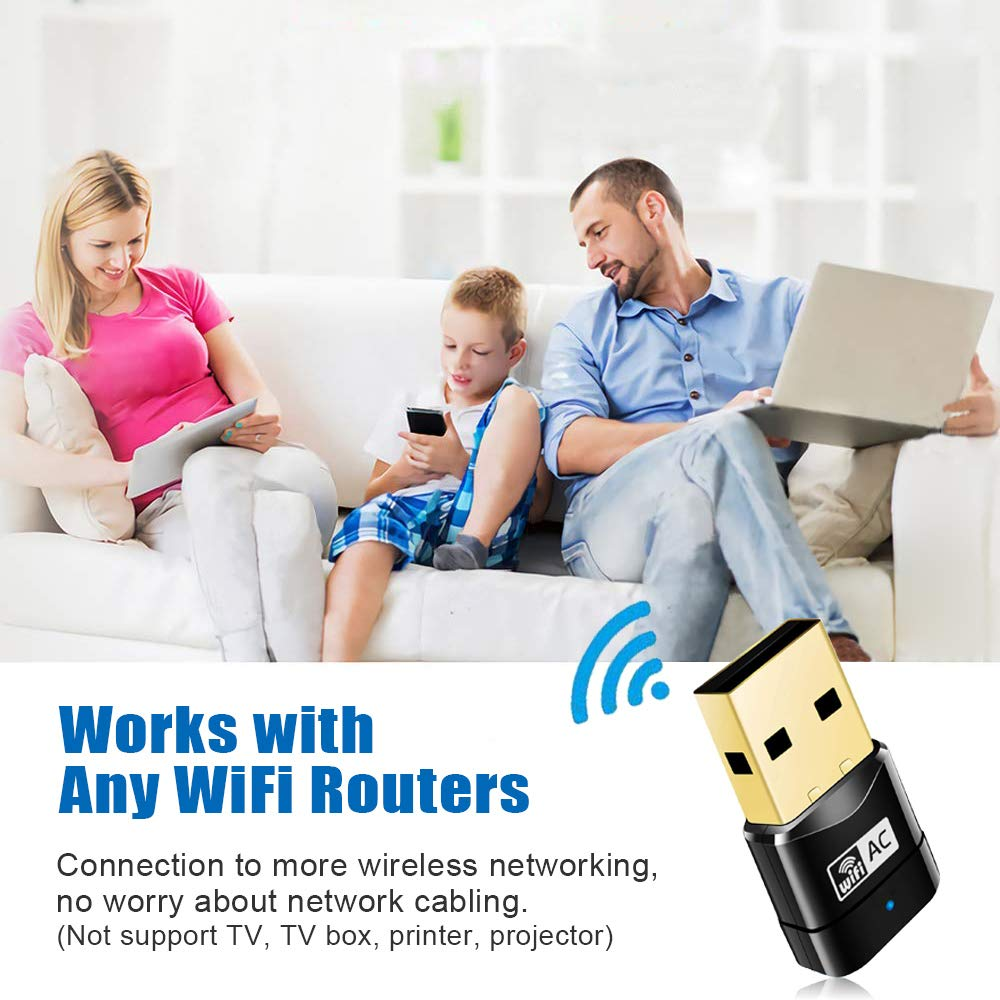 Compatible with Windows Maxesla 600M Mini WiFi Dongle 802.11ac Dual Band 2.4//5GHz Wireless Network Adapter for PC//Desktop//Tablet//Laptop Mac OS X USB WiFi Adapter