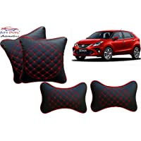 Auto Pearl Black Red Diamond Neck Rest with Cushion Set of 4 Pcs. for - Toyota Glanza