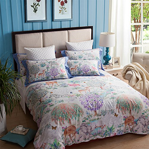(800Tc simple fashion four piece set 100% Extra-Long staple cotton double bed sheet quilt cover lovely holiday decoration-A Queen2)