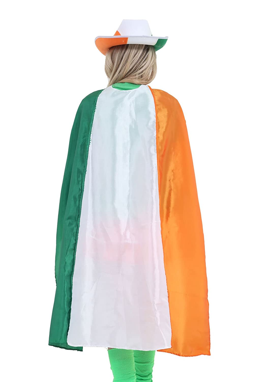 GCC Fashion Store Unisex Tricolour Irish Flag Satin Cape 48 inches Adults St Patrick fancy Dress Cape