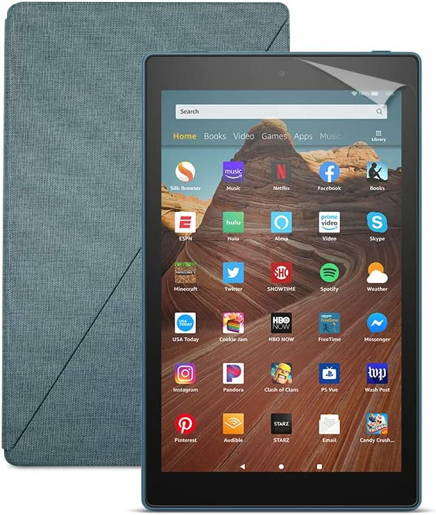 Fire HD 10 Tablet (64 GB, Twilight Blue, With Special Offers) + Amazon Standing Case (Twilight Blue) + Nupro Screen Protector (2-pack)
