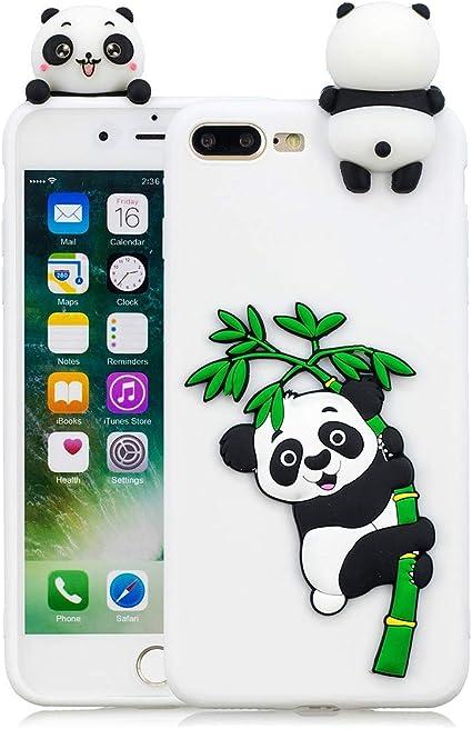 HongYong Cover iPhone 7 Plus Silicone Panda, Cover iPhone 8 Plus Silicone Fenicottero, Cover 3D Animali in Silicone Morbido per Apple iPhone 8 Plus ...