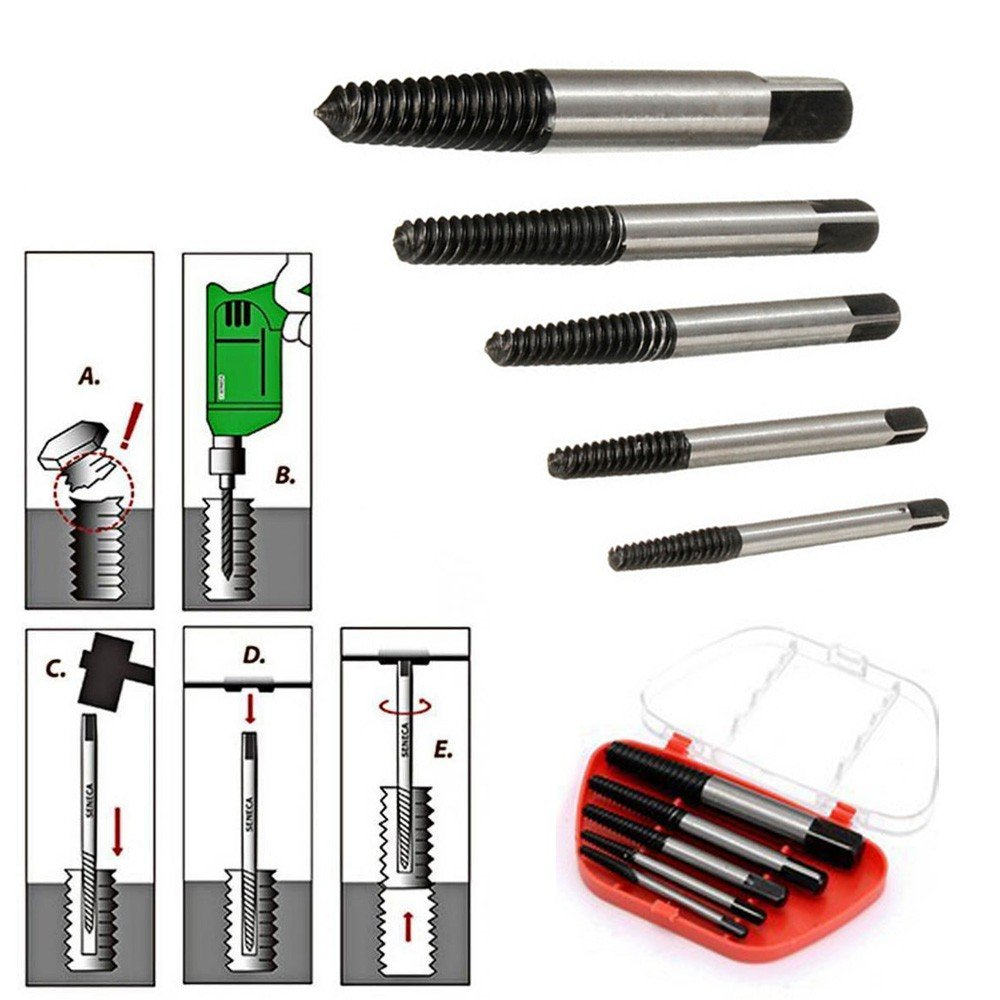LiPing 5PCS Screw Extractor Drill Bits Guide Broken Damaged Bolt Remover High Speed Steel Drill Bit Set Tool (Medium)