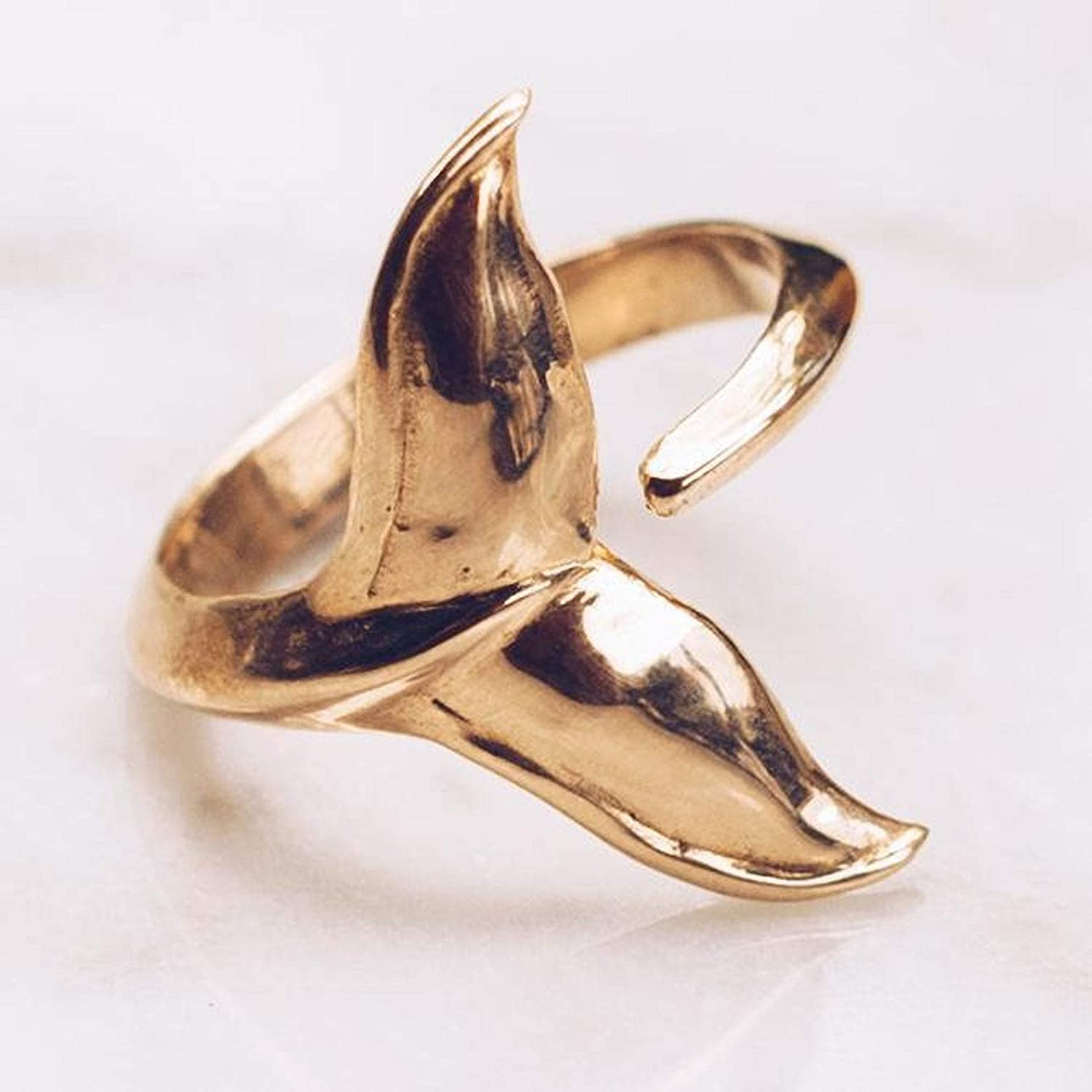 Marine Life Ring Ocean Jewelry Gold Whale Tail Ring Whale Ring for Women Men