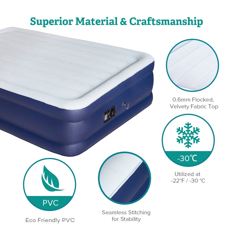 Sable Air Bed with Built-in Electric Pump, Raised Blow up Inflatable Air Mattress with Storage Bag, Height 18 Inches, Full Size by Sable (Image #5)