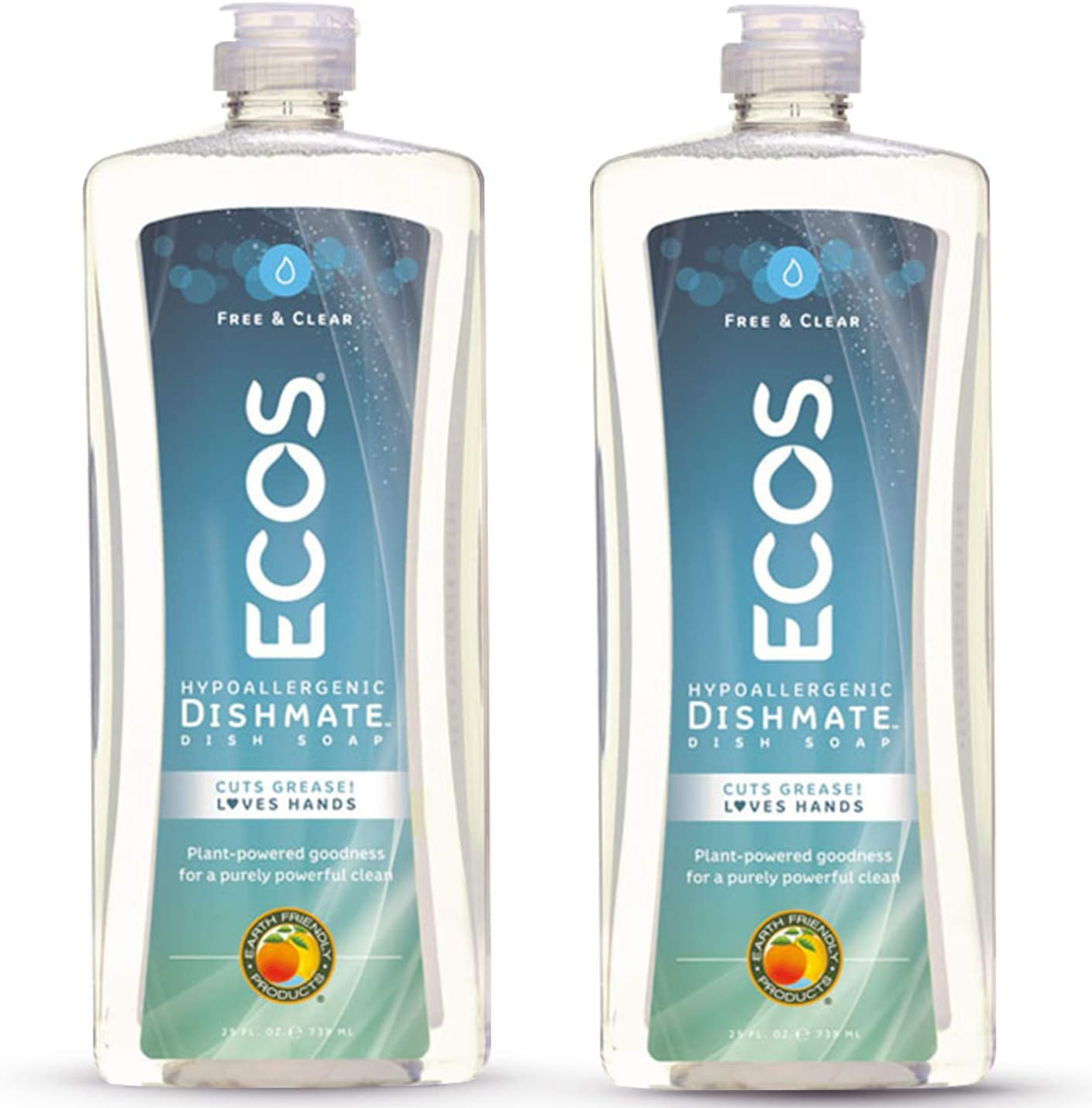 Earth Friendly Products ECOS Dishmate Hypoallergenic Dish Soap, Free & Clear, 25 oz Bottle (Pack of 2)