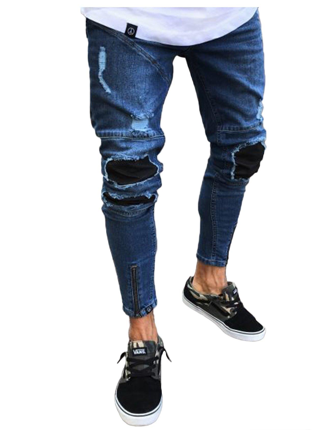 newrong Men's Ripped Slim Fit Jeans Pants XL Dark Blue