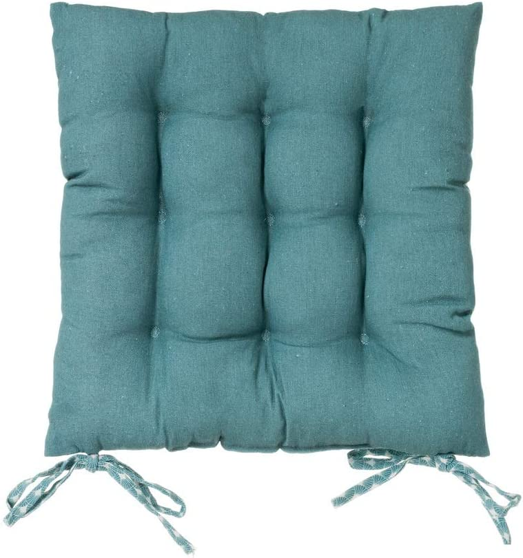 Coj/ín de silla acolchado aguamarina ex/ótico de algod/ón y poli/éster de 40x40 cm LOLAhome