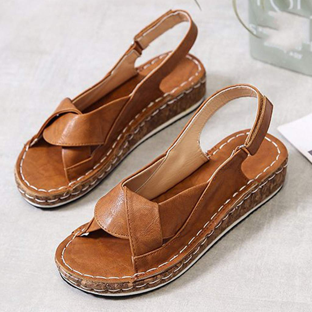 ZOMUSAR Womens Summer Hollow Out Wedge Buckle Sandals Casual Shoes for Ladies