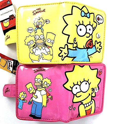 The Simpsons Family Pink & Yellow Wallet Set Homer Lisa Marge Bart ()