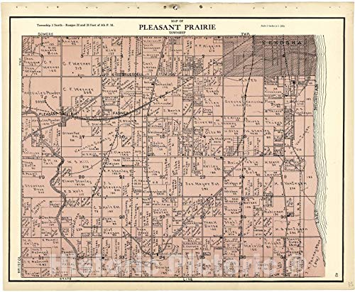 Historic 1924 Map - Plat Book of Racine and Kenosha Counties, Wisconsin - Map of Pleasant Prairie Township 54in x ()