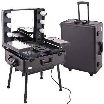Amazoncom Black PRO STUDIO Aluminum Professional Makeup Artist - Aluminum trolley case pro rolling makeup cosmetic organizer