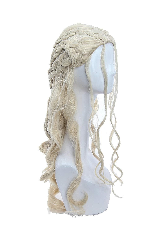 YYFF Fluffy Light Blonde Cosplay Wigs for Women Long Loose Wave Wavy 4 Braids