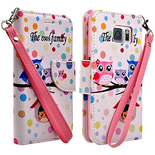Samsung Galaxy S6 Edge Case - Wydan (TM) Credit Card Wallet Style Case Cover For Samsung Galaxy S6 Edge - Owl Family w/ Wydan Stylus Pen
