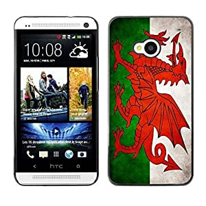 Shell-Star ( National Flag Series-Welsh ) Snap On Hard Protective Case For HTC One (M7)