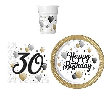 PROCOS 36 Piezas Juego De Vajilla Para Fiesta 30 cumpleaños – Platos, vasos y servilletas para 8 personas