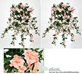"""TWO 34"""" Artificial Azalea Hanging Flower Bushes, with No Pot,"""