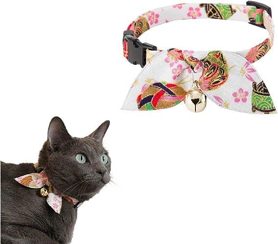 con campana de cuero Breakaway cintur/ón de seguridad ajustable para peque/ño animal de compa/ñ/ía Mioyow collar de gato reflectante Collar de gato collar de gato
