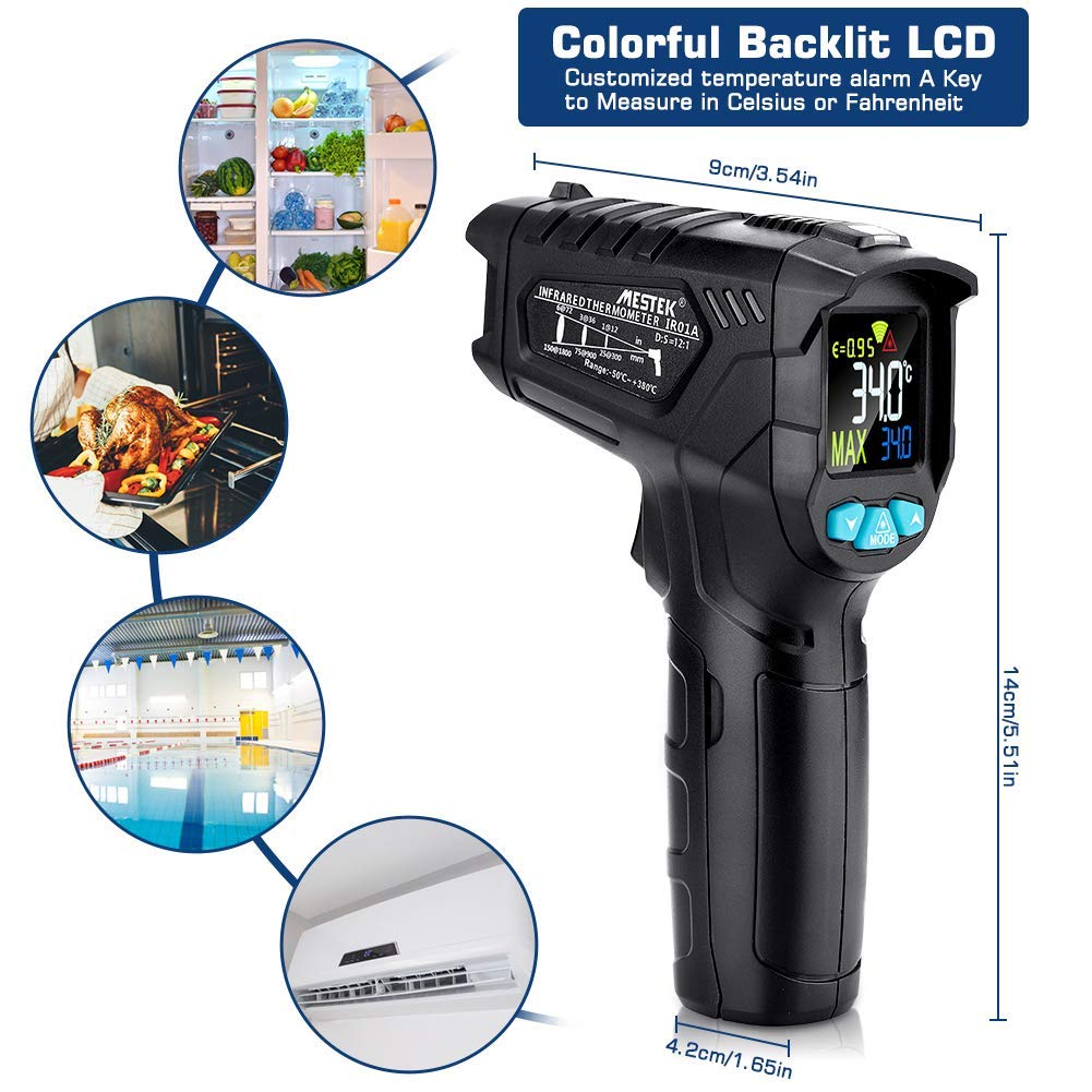 Infrared Thermometer, Non-Contact Digital Laser IR Thermometer Gun -58℉~716℉(-50℃~380℃) Adjustable Emissivity Instant-Read for Kitchen/Cooking/Automotive/Industrial with HD Backlight Color Display by YOUTHINK (Image #7)