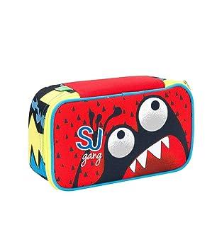 Estuche Escolar Seven - Cara de SJ - Quick Case - Rojo - Marcadores de lápices de Goma, etc.: Amazon.es: Equipaje