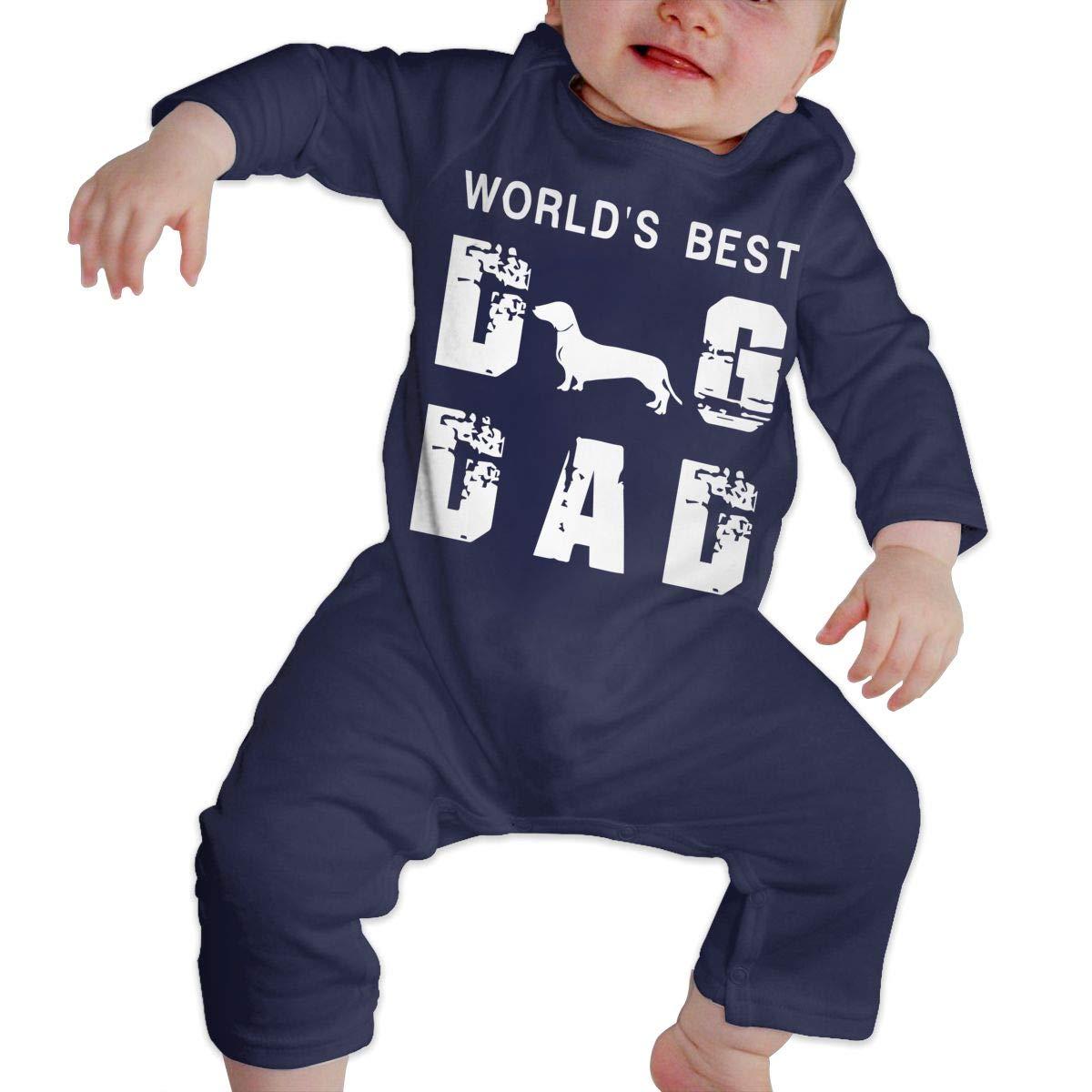 Worlds Best Dog Dad Baby Boy Girl Long Sleeve Romper Jumpsuit