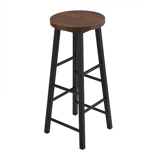 eSituro Set Tavolo da Bar e 2 Sgabelli Bar Arredamento Alto per Cucina Struttura in Acciaio SBST0397+SBST0395-2