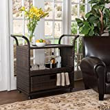 South Mission Multi-brown Wicker Indoor Bar Cart
