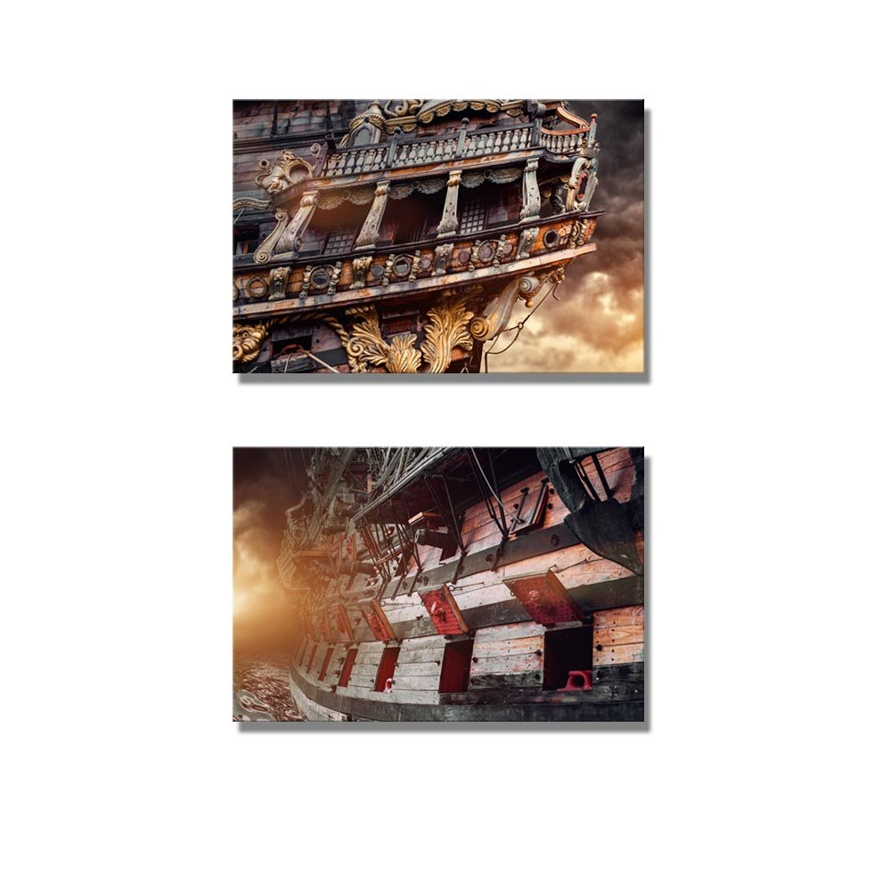 Pirate Ship And Stormy Sky Wall Decor Ation X 2 Panels Canvas Art