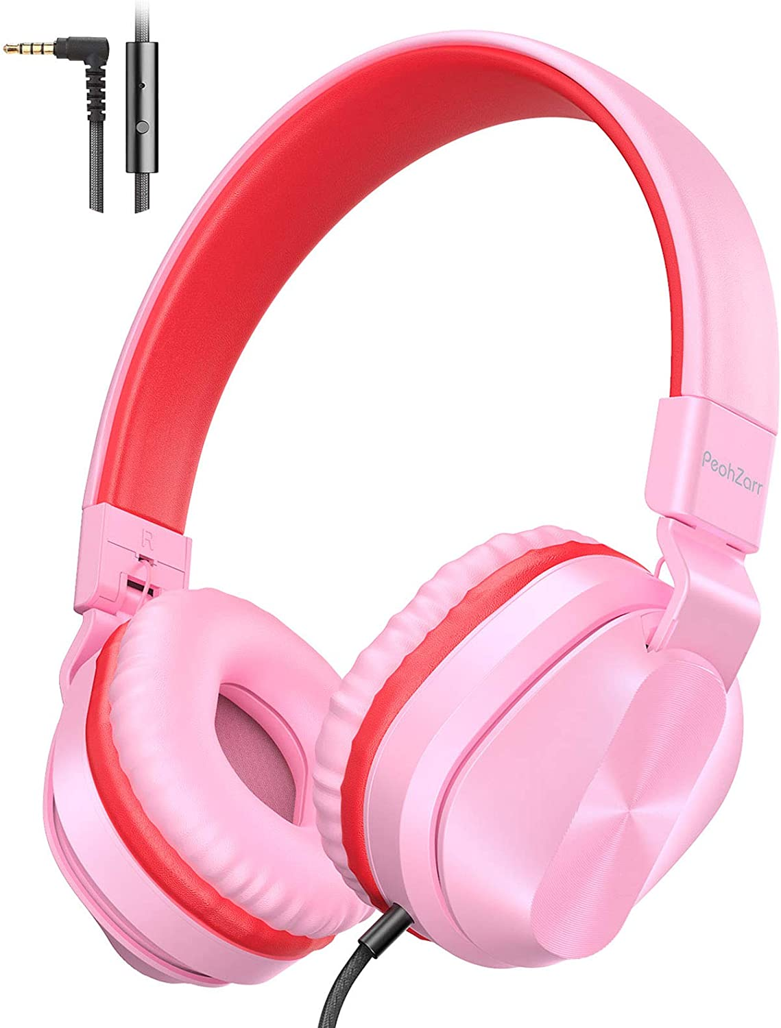 PeohZarr On-Ear Headphones with Microphone, Lightweight Folding Stereo Bass Headphones with 1.5M Tangle Free Cord, Portable Wired Headphones for Smartphone Tablet Laptop Computer MP3/4-Pink