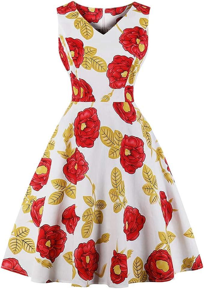 HWY Verano 80s Vestido Mujer algodón impresión Maxi Vestido ...