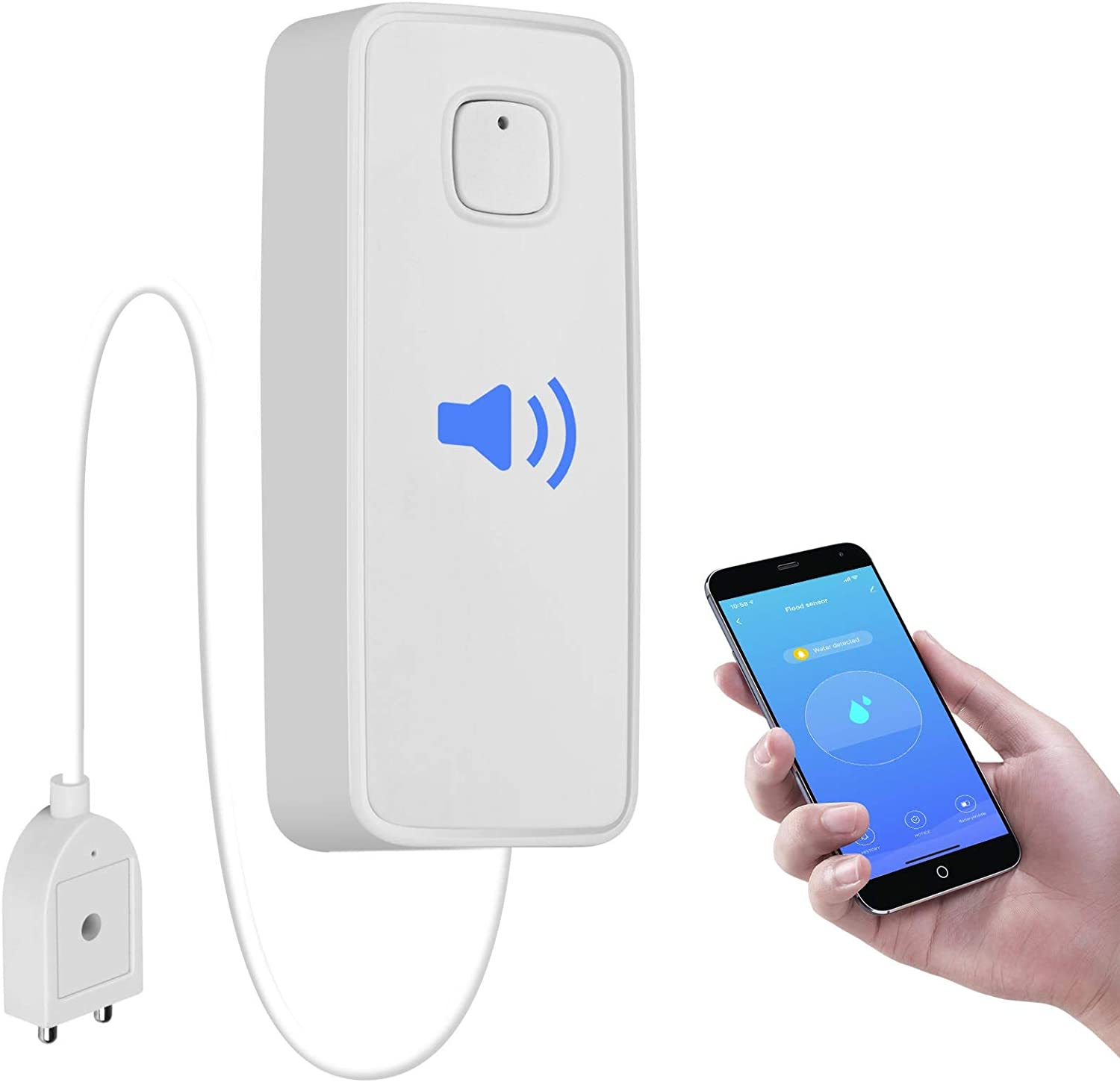 tolviviov WiFi Water Leak Detector, Water Sensor Alarm, NO Hub Required, Smart Life App, 3FT Detection Line, Easy to Install Remote Monitor Leak Ideal for Home Kitchen Bathroom Basement