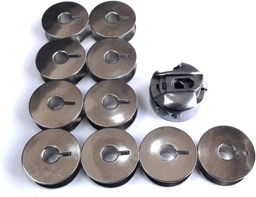 Estuche de bobina + 10 bobinas para máquinas de coser Durkopp Adler 69 Class #069-00-578-04