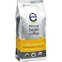 Ethical Bean Fair Trade Organic Coffee, Sweet Espresso Medium Dark Roast, Whole Bean Espresso Coffee  - 340g  Bag