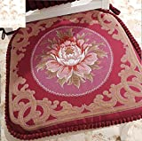 Sideli Red Chair Cushion Set of 2 Classic Decorative Chair pad Seat Cushion with Memory Filling and 2 Belt for Fix 16''x16'' (2, peony-red)
